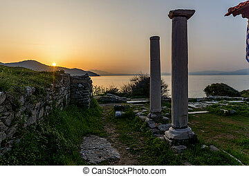 Sunset in Thassos town, Greece - Amazing sunset on...