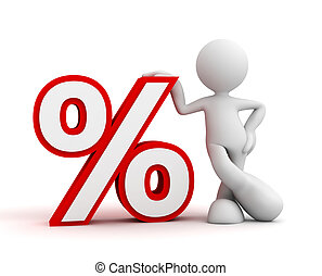 percentage sign and man concept  3d illustration