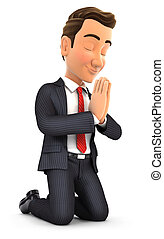3d businessman on his knees praying, illustration with...