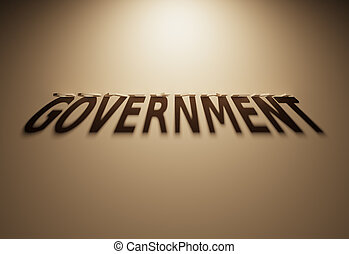 3D Rendering of a Shadow Text that reads Government - A 3D...