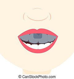Using dental tray - Smile and showing teeth with dental...