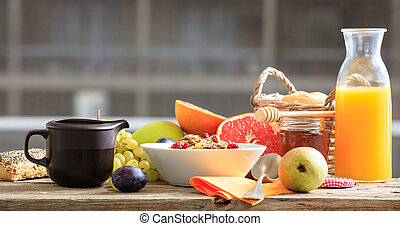 Fresh fruits and cereal bowl