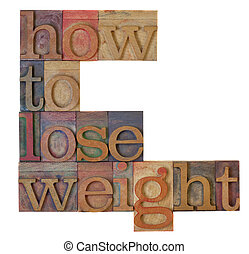 how to loose weight headline in vintage wooden letterpress...