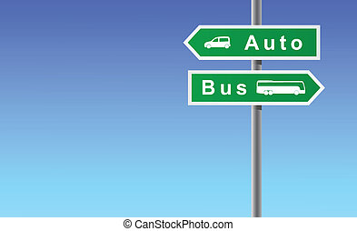 Arrows auto bus on sky background