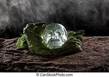Crystal Skull on Smoky Dark Setting - Creepy crystal skull...