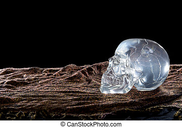 Crystal Skull on a Black Background - Mysterious glowing...