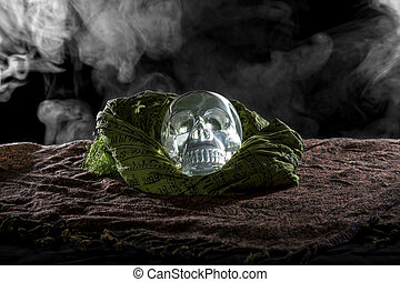Crystal Skull on Smoky Dark Setting - Creepy crystal skull...
