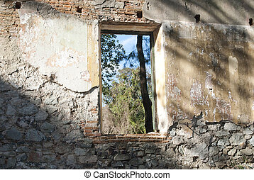 collapsed building window