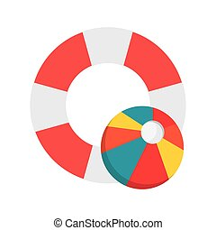 life preserver and beach ball icon - flat design life...