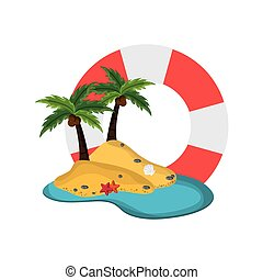 life preserver and tropical island icon - flat design life...