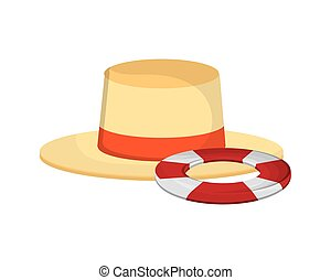 hat and life preserver icon - flat design hat and life...