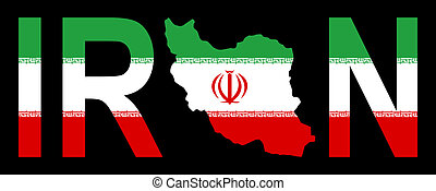 Iran with map on flag