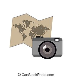 world map and camera icon