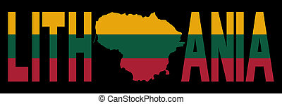 Lithuania with map on flag