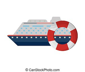 cruise ship and life preserver icon - flat design cruise...