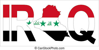 Iraq with map on flag - Iraq text with map on Iraqi flag...