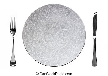 Empty Plate with Knife and Fork Top View Isolated - Empty...