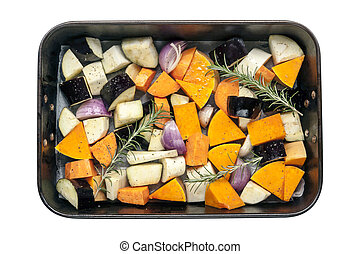 Raw Vegetables in Baking Pan Top View Isolated