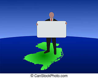 man on New Jersey map with sign