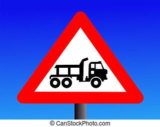 Warning construction trucks sign