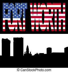 Fort Worth Skyline with flag - Fort Worth Skyline with Fort...
