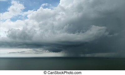 Timelapse Cloudscape and Thunderstorm Over The Ocean -...