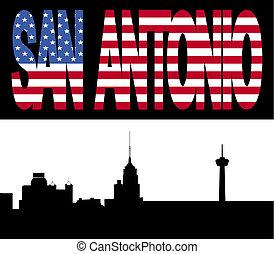 San Antonio Skyline with flag text - San Antonio Skyline...