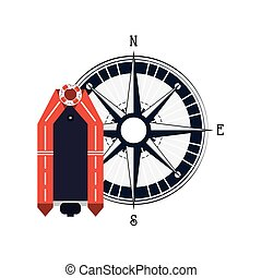 lifeboat and compass icon - flat design lifeboat and compass...