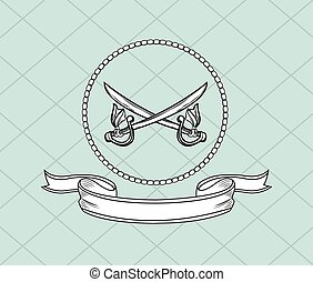 crossed swords emblem image vector illustration design