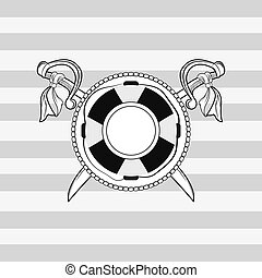 life preserver and crossed swords emblem image vector...