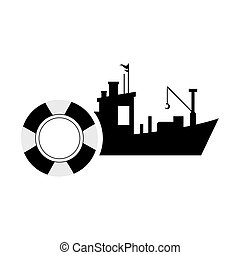 fishing boat and life preserver icon - flat design fishing...