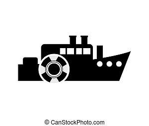 ship and life preserver icon - flat design ship and life...