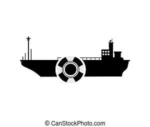 cargo ship and life preserver icon - flat design cargo ship...