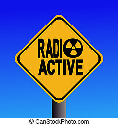 radioactive hazard sign on blue sky illustration