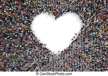 3D Rendering of love - 3D Rendering crowd of people that...