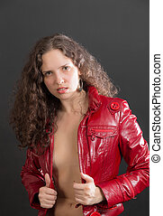 sensual girl in red jacket