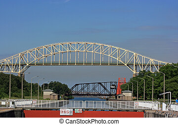 International Bridge and Sault Ste Marie Canal, Ontario,...