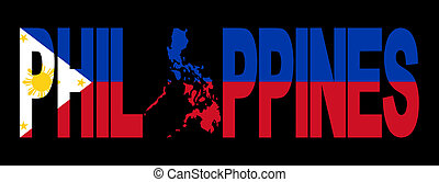 Philippines with map on flag - Philippines text with map on...