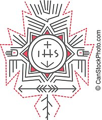 Religious symbols illustration - Hand drawn vector...