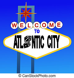 welcome to Atlantic City sign with dice illustration