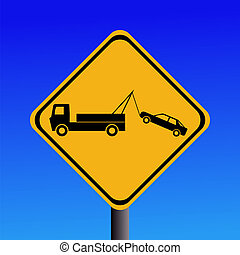 tow away zone sign - warning tow away zone sign on blue...