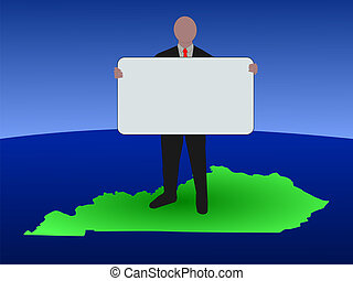 man on kentucky map - business man standing on map of...