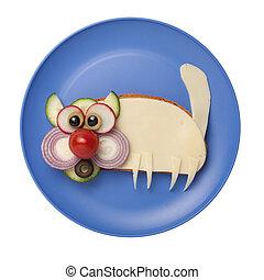 divertido, hecho, placa, queso, gato,  bread