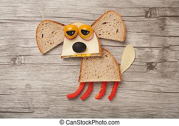 triste, perro, hecho, de, bread, y, vegetales, en, de...