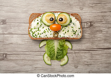 hecho, de madera, vegetales, gato, tabla,  bread
