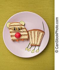 tigre, queso,  bread, hecho, placa