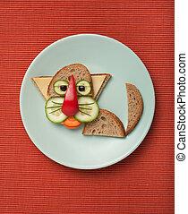 placa,  bread, hecho, tela, gato