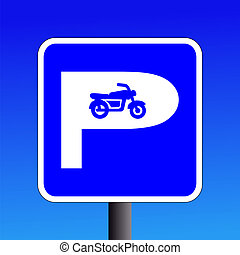 motorbike parking sign on blue sky illustration