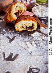題字, 信件, 麵粉, 打破, 小圓麵包, 雕刻, 桌子