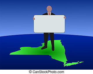 man on map of New York with sign